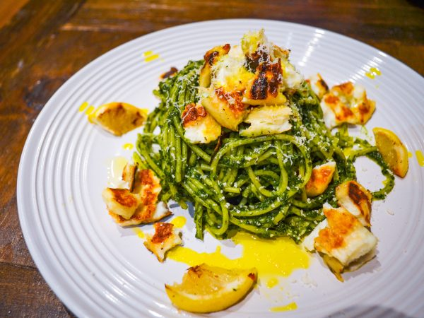 Swiss Chard Pesto Spaghetti with Halloumi